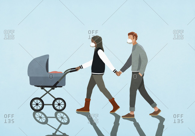 Couple in flu masks holding hands and walking baby in stroller