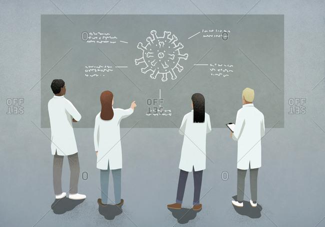Scientists discussing COVID-19 coronavirus diagram