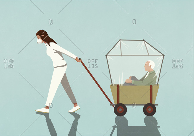 Woman in flu mask pulling senior man in covered wagon