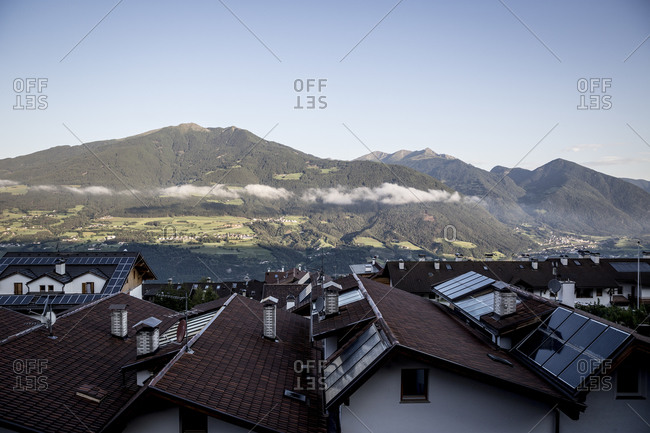 A view across the rooftops of the village of Sant Andrea, close to Bressanone in the South Tyrol region of Italy.