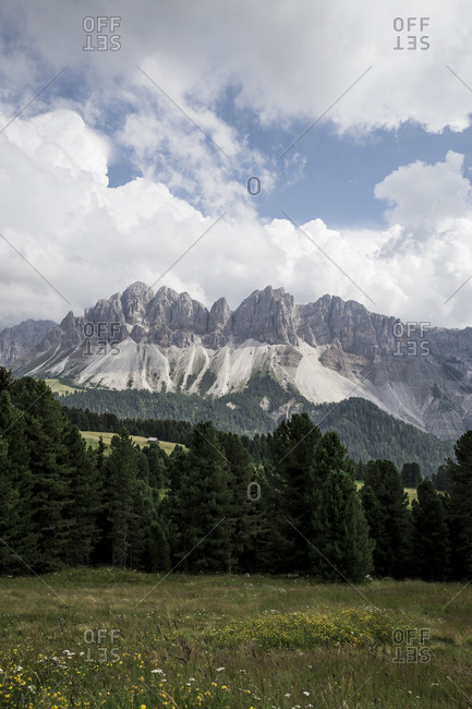 Peaks in The Dolomites in the Alto-Adige region of South Tyrol, Italy.