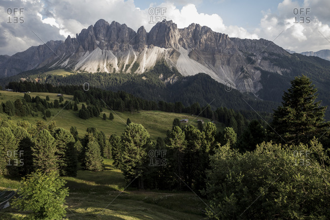 A mountain landscape in The Dolomites in the Alto-Adige region of South Tyrol, Italy.