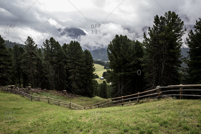 Agricultural land in The Dolomites in the Alto-Adige region of South Tyrol, Italy.