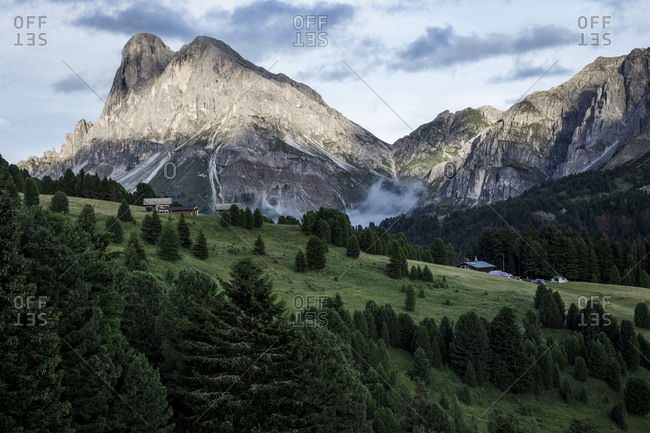 Mountain landscape in The Dolomites in the Alto-Adige region of South Tyrol, Italy.