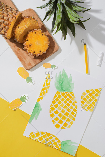 Tropical summer concept made of pineapple fruit and hand drawn illustration.