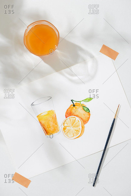 Tropical summer concept made of orange fruit and hand drawn illustration.