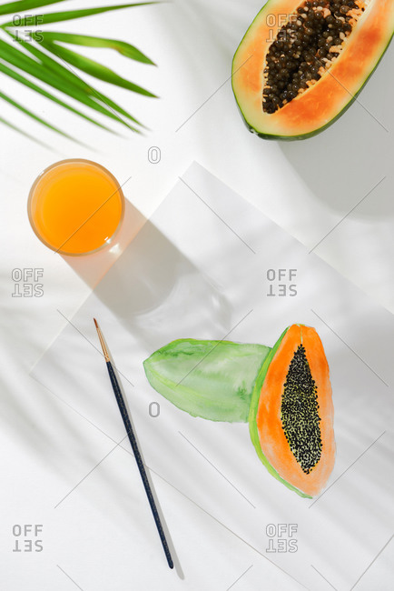 Tropical summer concept made of papaya fruit and hand drawn illustration.