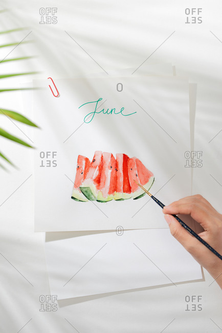 Tropical summer concept made of watermelon fruit and hand drawn illustration.