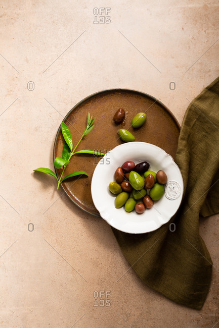 Variety of olives in a bowl