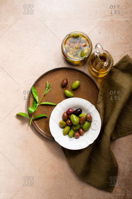 Fresh variety of olives in a bowl