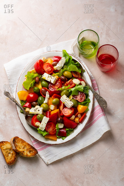 Vegetables salad with cheese and olive