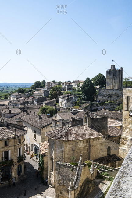Saint-Emilion, France - August 24, 2019: View of the city center on a clear day
