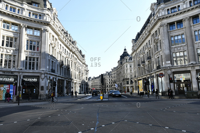 London, England - March 22, 2020: Empty streets of during Coronavirus epidemic