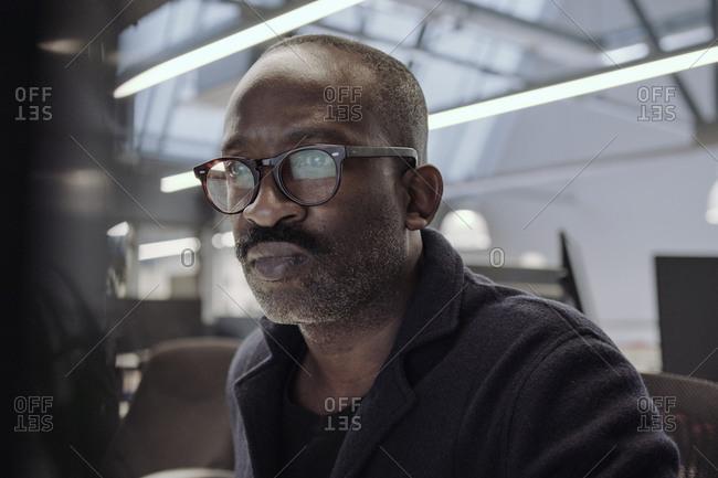 African american businessman working on desktop computer