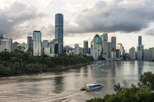 March 29, 2020: Brisbane city view in the evening