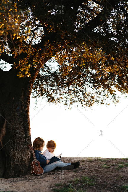 Side view of adorable little girl reading interesting story to younger brother while sitting together under tree with ukulele guitar in summer day in countryside