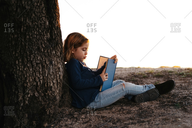 Side view of calm little girl in casual wear reading fairy tale book while sitting under tree in field in sunny summer evening