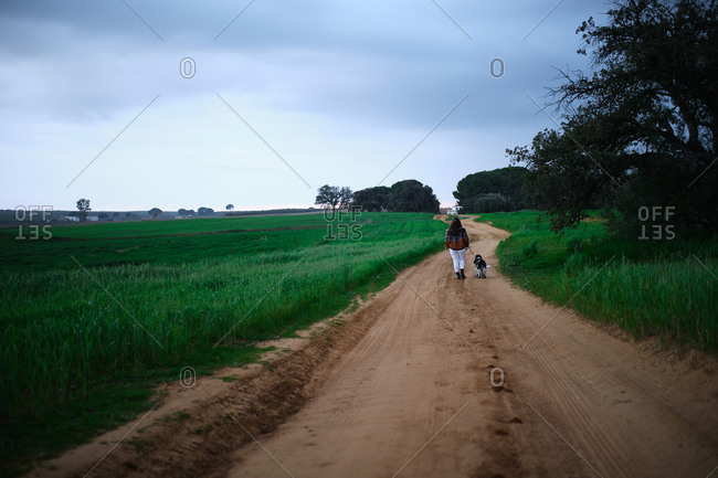 Back view of faceless woman in casual outfit walking with dog on empty rural road among green fields in countryside