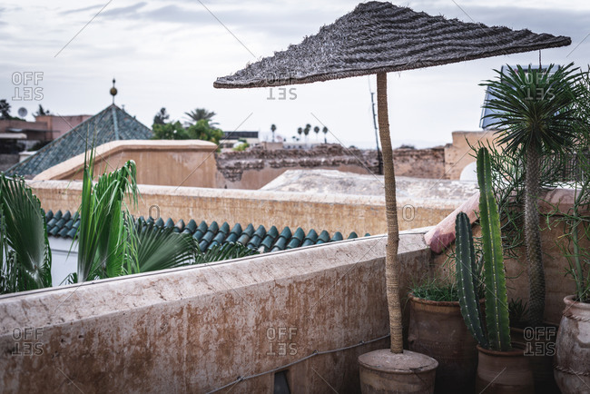 Ceramic pots with green cactuses and weathered beach straw umbrella located on old terrace against cloudy sky