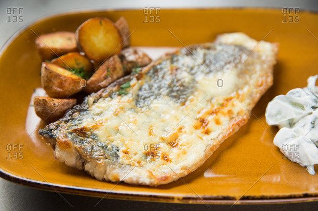 Ceramic plate with portion of yummy grilled fish and small potatoes placed on table in cafe