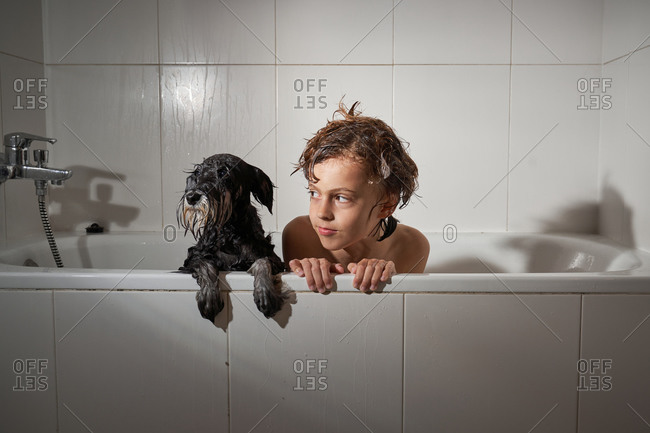 Cheerful happy boy looking away while showering with his dog in the bathtub at home playing