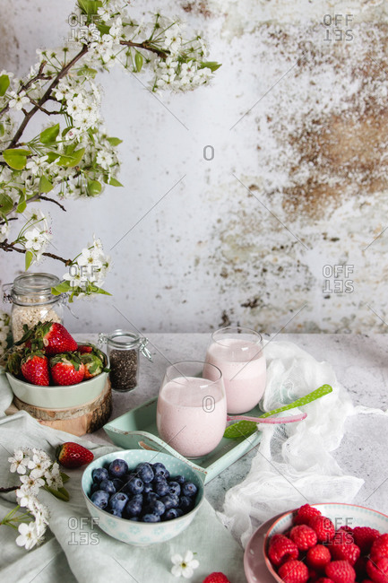 From above composition of glasses with delicious healthy berry smoothie served on table with various fresh berries and flowers on white shabby background