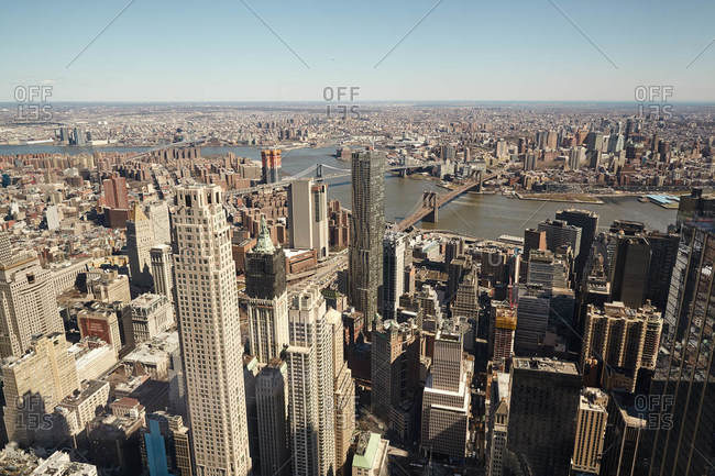 New York City, New York - March 29, 2017: Bird's eye view over New York City and the East River