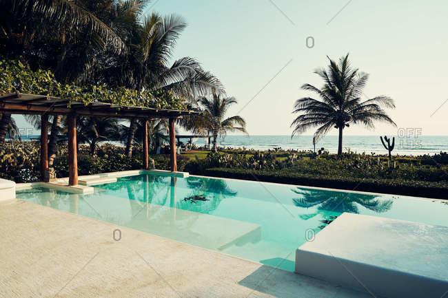 Infinity pool at a tropical resort in Puerto Escondido, Oaxaca, Mexico