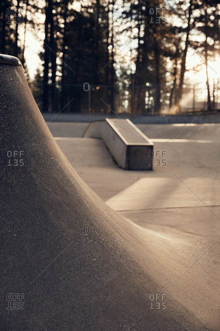 Curves of pavement at a skate park