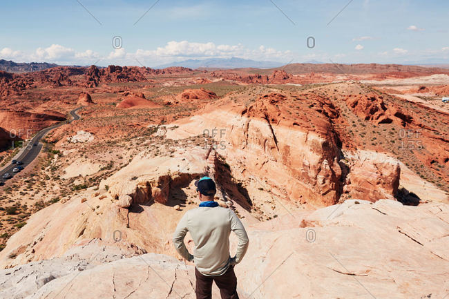 Man exploring around Valley of Fire State Park, Nevada