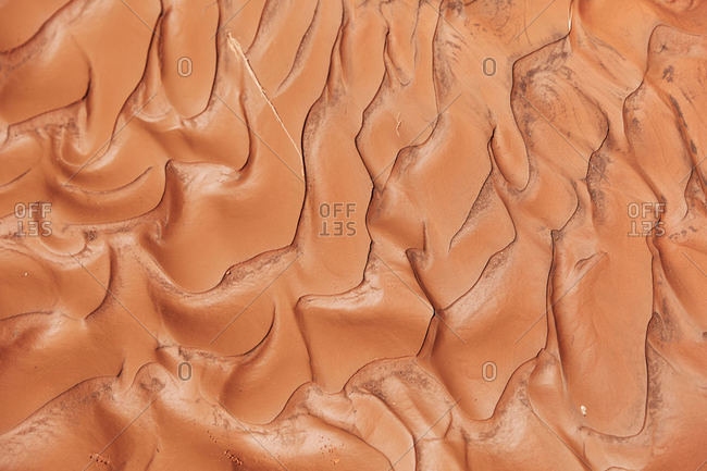 Overhead view of textured land in Valley of Fire State Park, Nevada