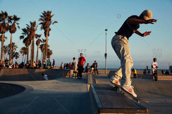 Los Angeles, California - July 7, 2019: Venice Beach skatepark at sunset