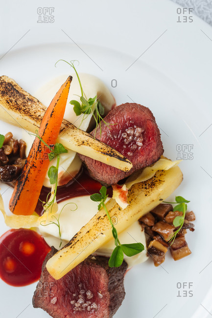 Appetizing steak with grilled vegetables