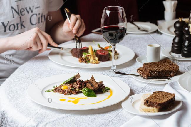 Man having dinner in luxury restaurant