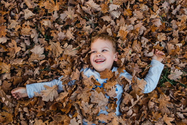 Young boy lying on autumn leaves on ground. Cute child covered in dry brown autumn leaves smiling and looking away.