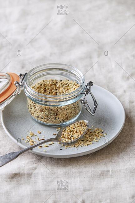 Homemade dukkah spice blend in a Jar