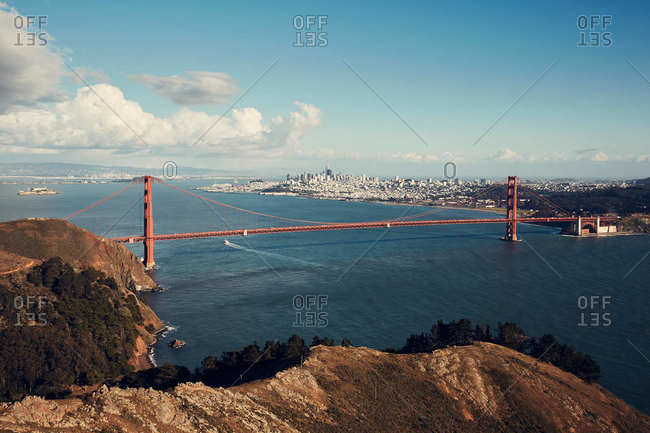 Bird's eye view of the Golden Gate Bridge in San Francisco, California