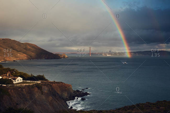 Rainbow over the Golden Gate Bridge in San Francisco, California