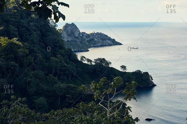 Bird's eye view over the coast of Cocos Island, Costa Rica