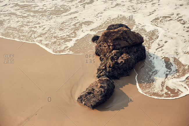 Rock formations on beach in San Mateo County, California