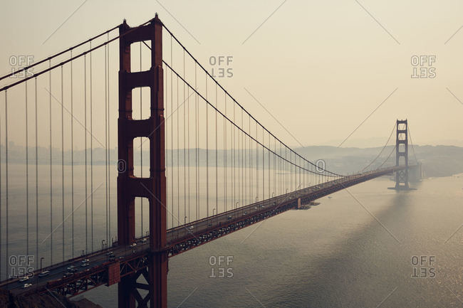 Smokey air surrounding the Golden Gate Bridge in San Francisco