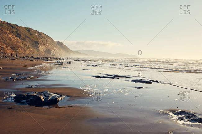 Rock formations on beach near San Francisco, California