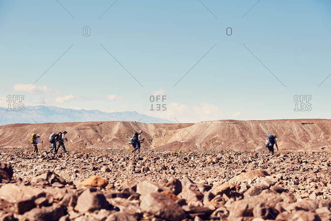 Death Valley National Park, California, February 16, 2019: Group of hikers in Death Valley