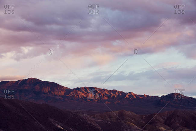 Cloudy sunset sky over Death Valley in California
