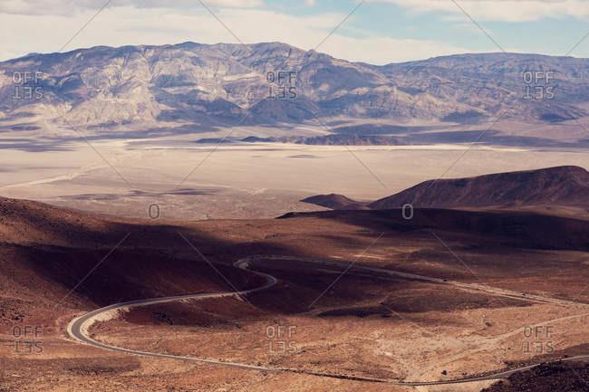Bird's eye view over Death Valley in California