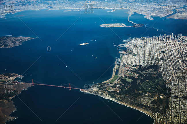 Aerial view over the San Francisco Bay and the Golden Gate Bridge