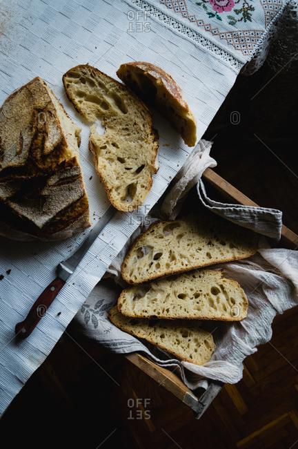 Overhead view of freshly sliced sourdough bread