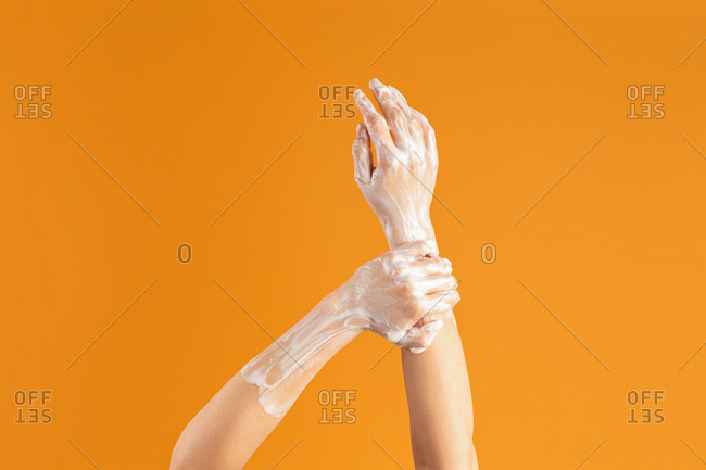 Closeup of anonymous woman washing hands
