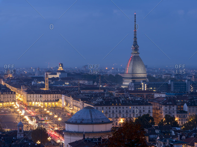 November 9, 2019: Mole Antonelliana and Gran Madre di Dio dusk, Turin, Piedmont, Italy, Europe