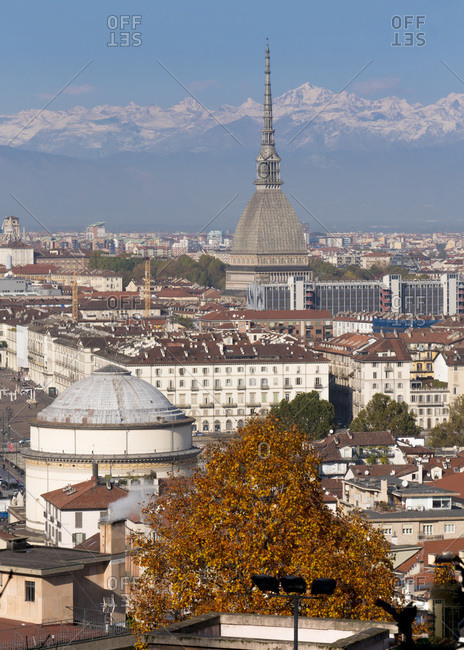 November 9, 2019: Mole Antonelliana and Gran Madre di Dio church, Turin, Piedmont, Italy, Europe
